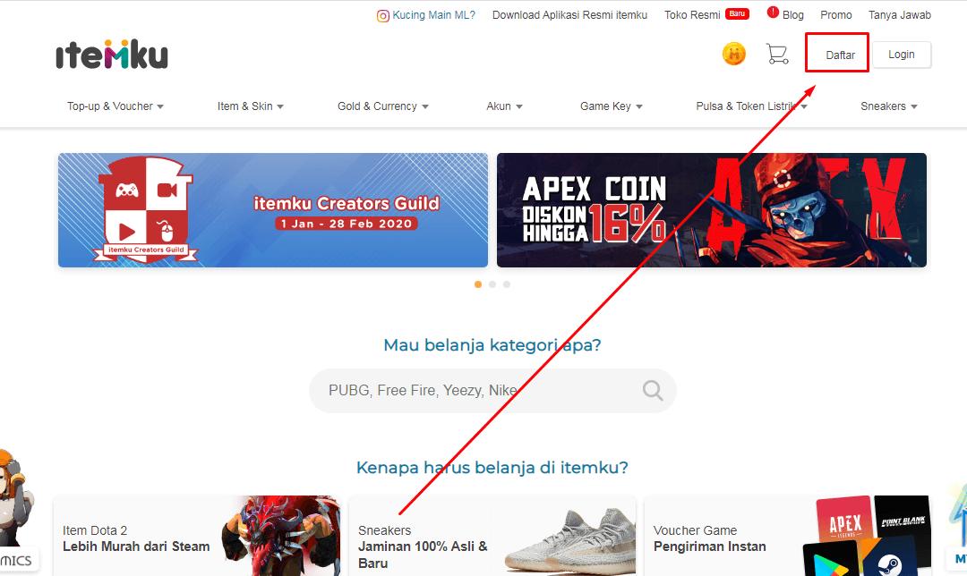Mulai cara jual beli akun game online dengan membuat akun